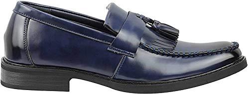 Xposed Mocassini da uomo, in pelle verniciata lucida, con nappa, stile retro, vestibilità stretta, Blu (blu navy), 42 2/3 EU