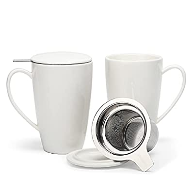 amHomel Porcelain Tea Mug With Infuser Basket and Lid for Steeping 15 OZ Cups, Mugs Set of 2 Multi Color(White, MintBlue, DarkBlue, MintPink, MintGreen) (White)