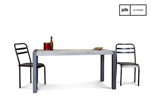 Vintage retro eettafel van gerecycled teakhout - Massief hout, Gebeitste afwerking, Teak hout | Grijze eettafel ontworpen met staal en edel hout - Beigegrijs (L160 x H77 x P80 cm)