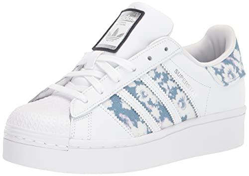 adidas Originals Women's Superstar Bold Shoes Sneaker, White/Ambient Sky/Silver Metallic, 5