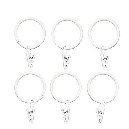 MoMaek 40 Pieces White Metal Curtain Drapery Rings with Clips,1.5-inch Inner Diameter