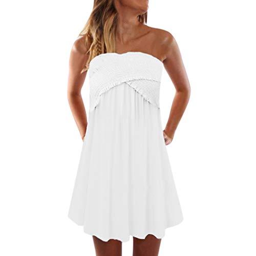 JXQ-N Damen Kleider, Damen Scher Bandeau-trägerlose/ärmelloses Top Klar Sexy Einfarbig Sommer Strand Kleid Faltenrock Größe S-XXL