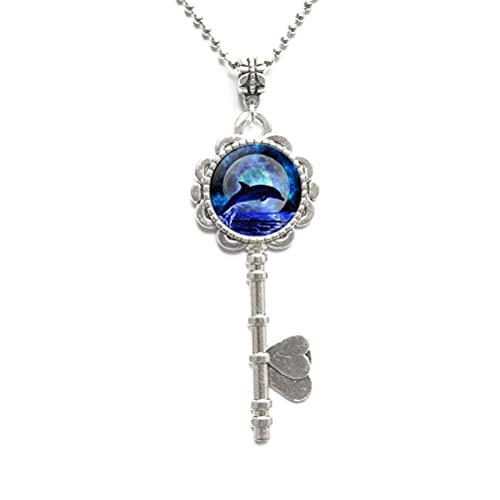 Collar con llave de delfín, joyería de delfín, regalo de delfín, collar de llave de océano, collar de llave de playa, collar de llave de verano, joyería de la naturaleza, mejor regalo JV94