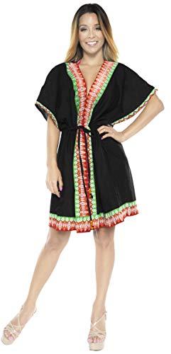 LA LEELA Halloween Costume playa cubrir la mitad algodón la manga la chaqueta rebeca la capa sencilla camisa la blusa vestido kimono informal boho kaftan además traje baño traje superior caftán azul m