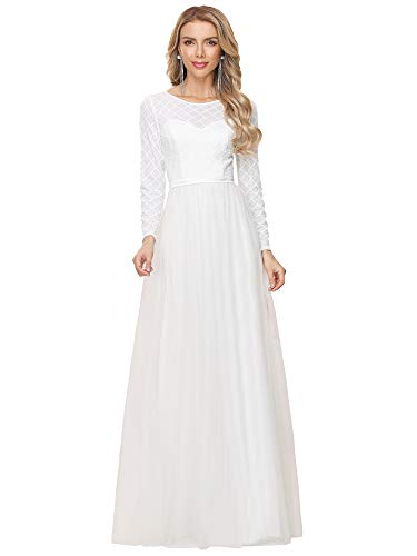 Ever-Pretty Women's Classic Bridal Dresses Round Neck Long Sleeves Empire Waist A Line Floor Length White Basic Wedding Dress 8UK
