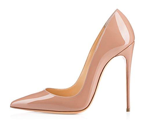 EDEFS Damen Klassische Pumps Bequeme High Heels Elegante Schuhe Spitze Damen Pumps Beige Größe EU41