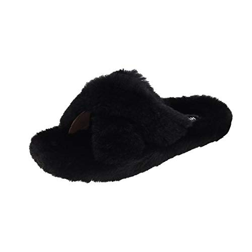 Zquest Waterproof Slippers,Ladies Fur Slippers, Fashion Shoes with Thick Soles For Autumn and Winter-Black_37