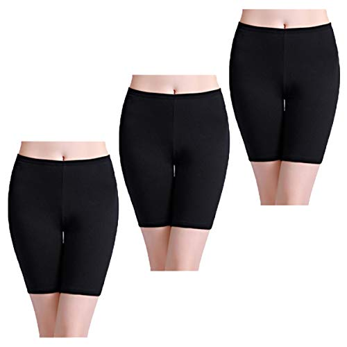 wirarpa Unterhosen Damen Hoher Bund Baumwolle Lange Radlerhose Unterwäsche Boxershorts 3er Pack Schwarz Größe XXXL