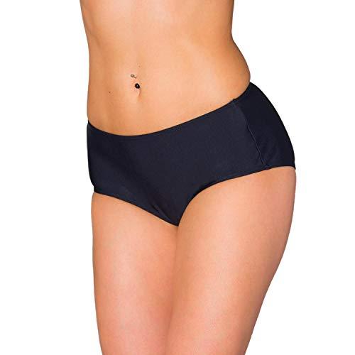 Aquarti Damen Bikinihose mit Mittelhohem Bund, Farbe: Schwarz, Größe: 38