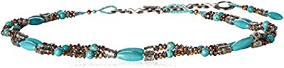 Ariat Women's Beaded Turquoise Strand Belt, silver, Large