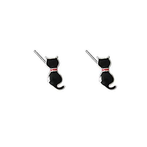 Pendientes de gato negro plata pendientes joyería lindo pendientes pendientes Kawaii joyas gato...