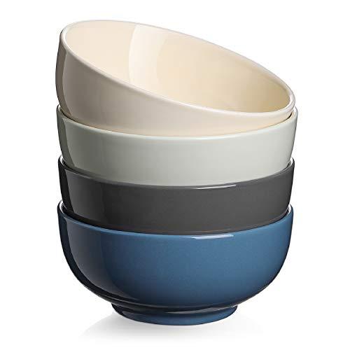 DOWAN Soup Bowls for Kitchen - 22 Oz Porcelain Large Soup Serving Bowls, Dishwasher and Microwave Safe Ceramic Bowl Set of 4, Multifunction Colorful Bowls for Soup, Cereal, Salad, Cold Assorted Color