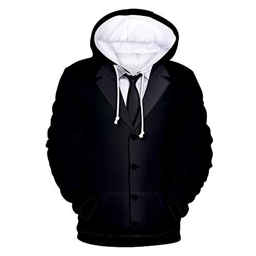 MENAB Herren Kapuzenpullover Kapuzenjacke Hoodie mit hoch abschließendem Kragen Weihnachtspullover Lustig Gefälschter Anzug 3D Druck Hoodie Langarm Pulli Sweatshirt mit Taschen Urlaub