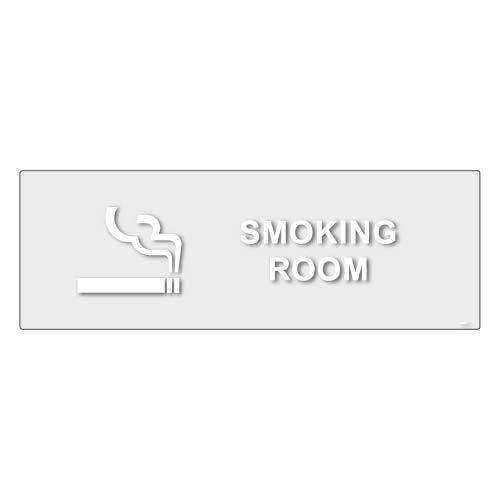 標識スクエア「 喫煙室(英語) 」ヨコ・大【透明ステッカー シール】400×138mm CBK2221 2枚組