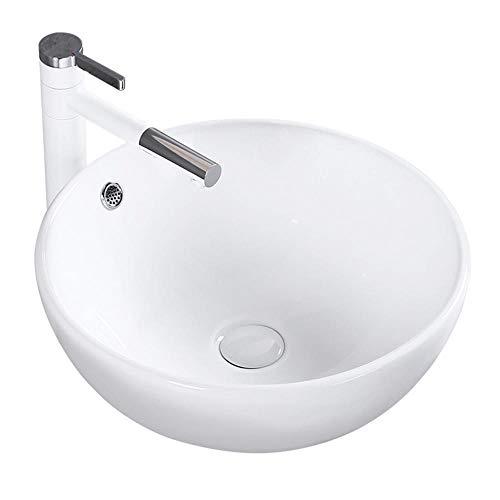 Best Bargain DHUYUN Vessel Sinks Bathroom Over Counter Artistic Vessel Vanity Sink Bowl Round Top Wa...