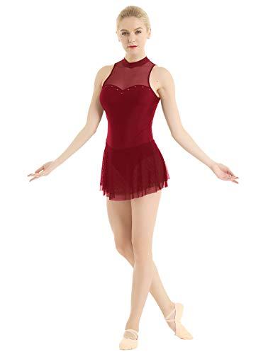 iiniim Maillot de Danza Ballet Gimnasia Tirante de Encaje Floral Leotardo Adulto sin Mangas Body Cl/ásico El/ástico Elegante para Mujer Chica