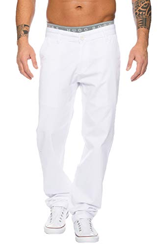 Rock Creek Herren Designer Chino Stoff Hose Chinohose Regular Fit Herrenhose W29-W40 RC-2083 [RC-2083 - Weiß - W32 L34]