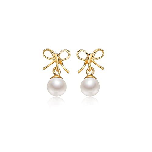 OMTONGXIN Earrings Pearl Stud Earrings G18K Gold Seawater Pearl 4.5-5mm Round Light Luxury Bow Earrings Women's Ball Earrings