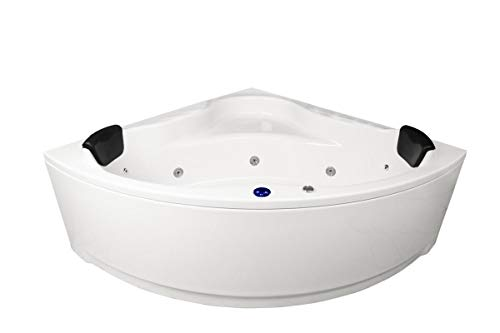 Whirlpool Bañera Karibik Basic Made IN Germany 140X 140+150 X 150cm con 13 Boquillas de Masaje + Iluminación bajo el Agua / Luz + Balboa + sin Grifería Bañera
