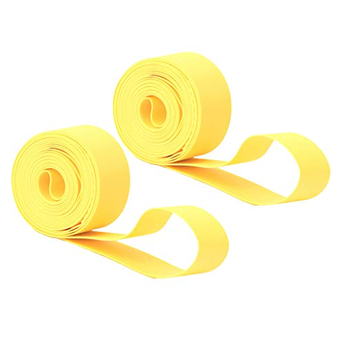 SM SunniMix 2 Count Bike Tire Liner/Puncture Proof Belt/Tyre Inner Tube Protector, Bicycle Rim Strip Tape for 700c Road Bikes, 26 27.5 29 inch Mountain Bikes - Yellow, 27.5inch x 20mm