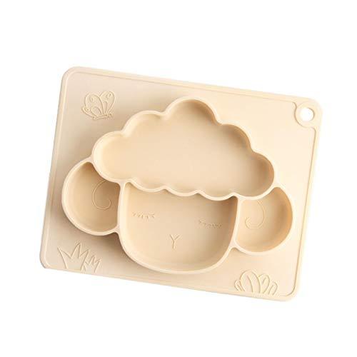 Piatto diviso in silicone, simpatico cartone animato, piatto portatile antiscivolo per bambini, con ventosa, senza BPA, lavabile in lavastoviglie per il bambino
