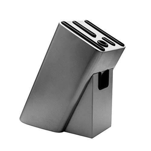 Bloque universal para cuchillos 6 tragamonedas Bloque del soporte para la cuchilla para el contador de la cocina Acero inoxidable grueso, cuchillo vacío Organizador de almacenamiento Barra de cocina A