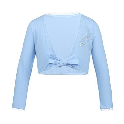 MSemis Bolero de Algodón para Niñas Chaqueta Danza Ballet para Maillot Leotardo Cárdigan Elegante Abrigo Corto Capa para Vestido Fiesta Boda Manga Larga Azul 5-6 años