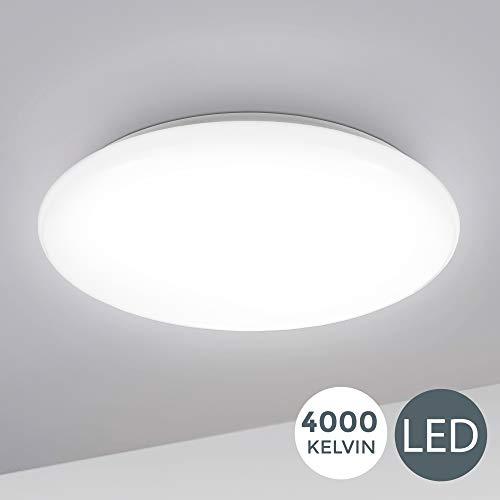 B.K.Licht I 12W LED Deckenlampe I 4.000K Neutralweiß I 1.200 Lumen I Ø28cm I Schutzart IP20 I Bürolampe gewölbt I LED Deckenleuchte