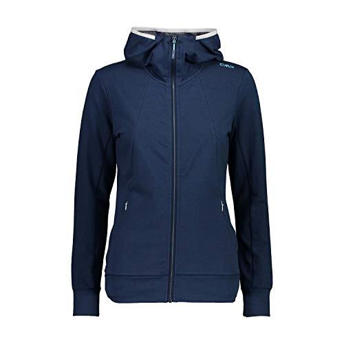CMP Damen Jacke Sweatjacke aus leichtem French Terry Material, Blue Mel.-Bianco