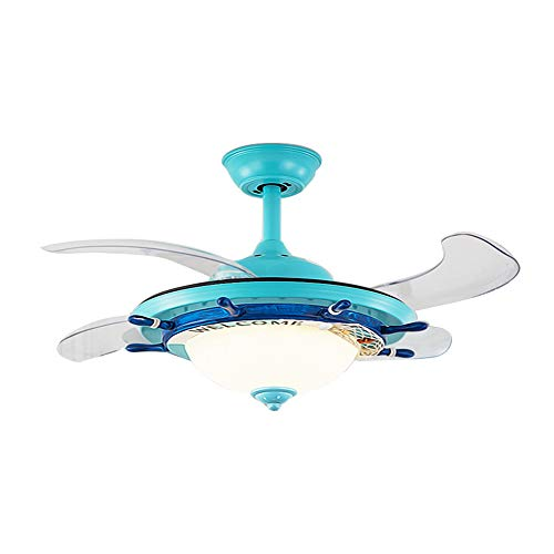 LITFAD Modern LED Ceiling Light Nautical Style Reversible Dome Shade Metal Hanging Ceiling Fan Light with Invisible Blade Flushmount Pendant Light for Living Room Kid's Bedroom Children's Room - Blue