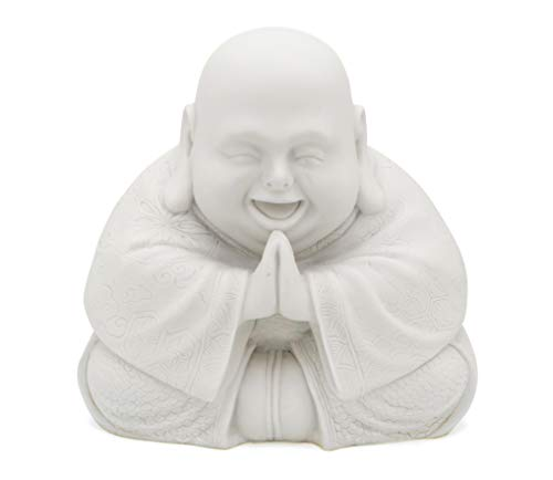 Buddha Groove Majestic Praying Happy Buddha Statue (White)