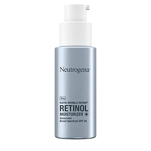 Neutrogena - Hidratante facial de retinol de reparación rápida de arrugas con protector solar SPF 30, 1 fl. oz y reparación rápida de arrugas facial y cuello hidratante nocturno con retinol, 1 fl. oz