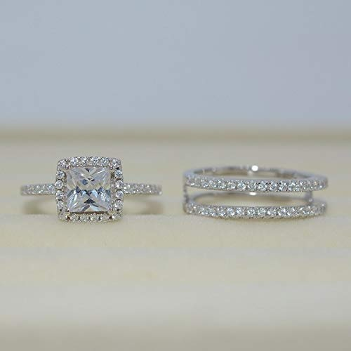 Naomi Fashion Halo Cushion Cubic Zirconia CZ White Gold Filled 2pcs Wedding Engagement Ring Insert Set (Multi-Color,7)