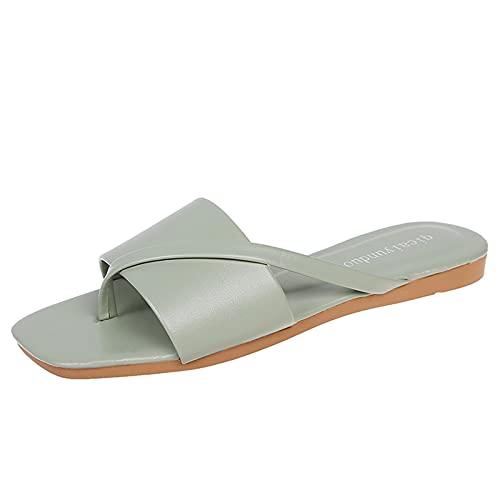 Zapatillas Mujer casa Planas Casual cómodo Moda con Punta Abierta Cuadrado Sandalias Mujer Verano 2021 de Dedo Vestir Chanclas Mujer de Playa Piscina Aire Libre Calzado Casual para Mujer