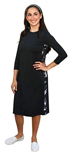 Kosher Casual Women's Swim Dress with Printed Racing Stripe Closed Neckline and 3/4 Length Sleeves XL Black