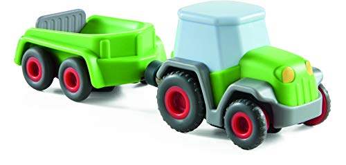 HABA 305562 - Kullerbü – Traktor mit Anhänger, Ergänzung zu HABA Kullerbü Kugelbahnen, Traktor mit Schwungmotor, Spielzeug ab 2 Jahren