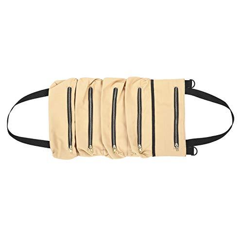 Ladieshow Tools Roll Up Bag Portátil Impermeable Lienzo Bolsa de Almacenamiento de Herramientas Organizador Accesorio de Jardín(Khaki)