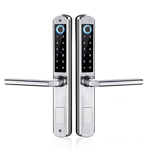 Smart Door Lock, Waterproof Double-Sided Gate Lock Fingerprint Lock APP RFID Code Keyless Smart Lock Electronic Door Lock for Aluminum Door/Iron,Silver,Left Pull