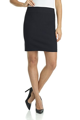 Rekucci Women's Ease Into Comfort Above The Knee Stretch Pencil Skirt 19 inch (Large,Black)