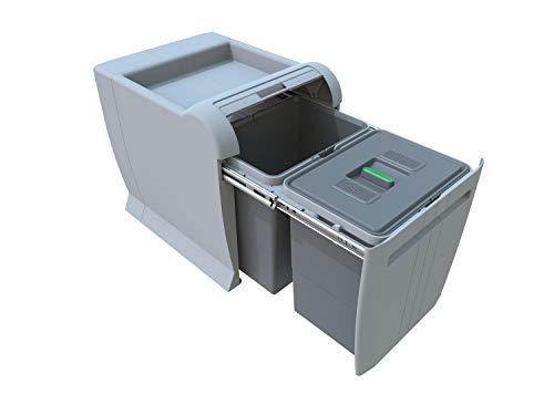 ELLETIPI City PTA 4045B – Cubo de Basura de Reciclaje extraíble por la Base. Color Gris. Dimensiones: 35x 47x 44 cm