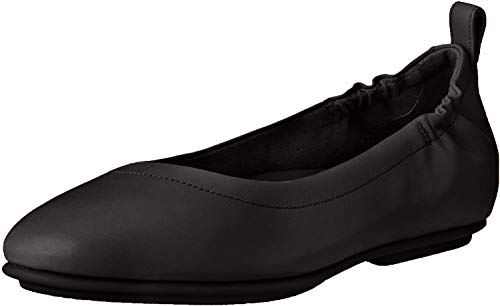 FitFlop womens Allegro Ballet Flat, Black, 5 US