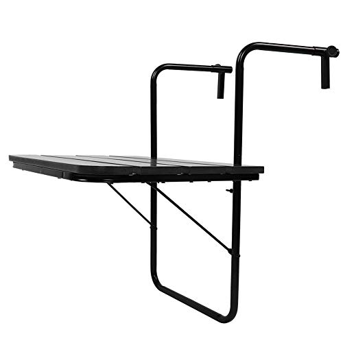 AYNEFY - Mesa colgante para jardín, exterior, mesa de balcón de polirratán, mesa plegable, 62 x 42 x 9 cm