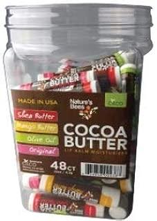 Nature's Bees, Cocoa Butter Lip Balms, All Natural Lip Moisturizer Treatment - Pack of 48, (Original Variety Assortments - Original, Olive Oil, Mango Butter, Shea Butter)