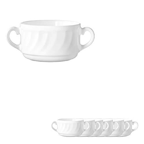 Esmeyer Trianon - Set 6 Tazze da zuppa sopra 0,32 l, Vetro temperato Acropal Trianon, Bianco