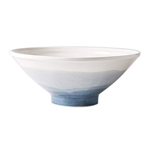 Bols à céréales Bol À Riz Bol À Soupe Bol À Ramen Bol À Ramen Japonais Bol Créatif Vaisselle En Céramique Simple Bol À Dessert À La Crème Glacée (Color : 1100ml-Blue, Size : 25 * 25 * 9.9cm)