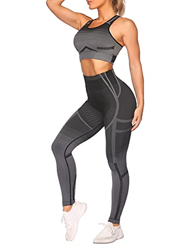 COOrun Workout Sets for Women 2 Piece Yoga Outfit Athletic Set Gym Clothes(Black,L)