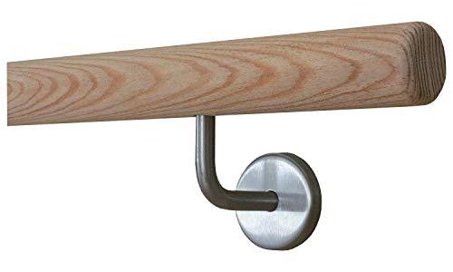 Lärche (unbehandelt) Handlauf mit Radius u. Halter Ø42mm in verschiedenen Längen (050cm 2 Edelstahl-Halter)