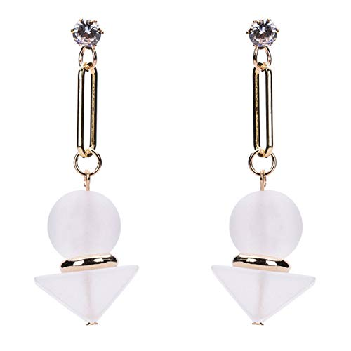 SHANGZHIQIN Exquisite große Legierung Harz Strass Ohrringe, stilvolle weiße Tischlampe Design, einfach und frisch Stil weiß