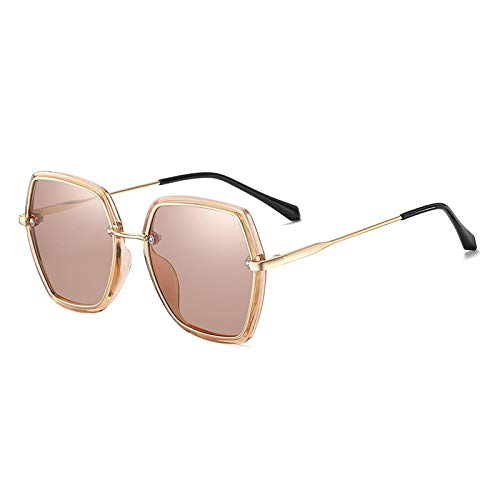 Gafas De Sol,Gafas De Sol Polarizadas Anti-Uv Para Mujer Gafas De Sol Con Montura Grande De Moda Retro, Oro Brillante/Té T11