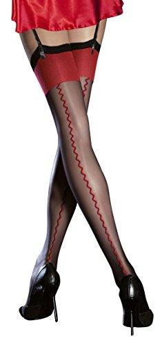 Fiore, autoreggenti eleganti super fini, spessore 20 denari, cucitura a vista Black/Red S
